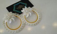 Beaded Earrings Patterns, Seed Bead Earrings, Jewelry Patterns, Seed Beads, Bead Jewellery, Diy Jewelry, Beaded Jewelry, Handmade Jewelry, Bridal Silk Saree