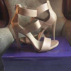 High heel sandals Steve Madden tan sandals only worn once, excellent condition. Steve Madden Shoes Heels