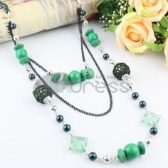 three layers long necklace of green Seed Pearl   acrylic   wool ball