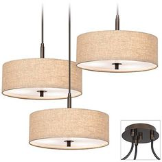 Possini Euro Tiger Bronze Cream Drum 3-Light Pendant