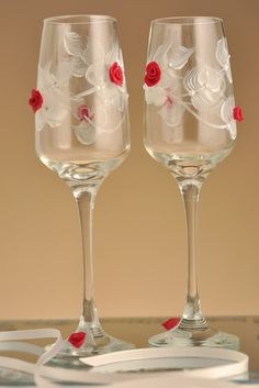 Set of 2 Hand Painted beautiful wine glasses Red Roses with swarovski crystals on Etsy, £30.32
