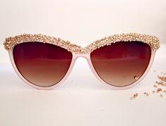 Glitter N Glue: DIY Embellished Sunglasses. Cheap Dollar Store or Wal-Mart sunglasses, glue, seed beads, and clear nail polish!
