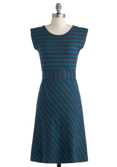 Riviera Romance Dress in Teal - Cotton, Long, Green, Blue, Stripes, Casual, A-line, Cap Sleeves, Scoop, Nautical