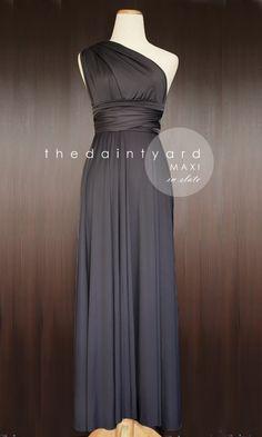 Floor Length Gray Bridesmaid Convertible Dress by thedaintyard, $48.00