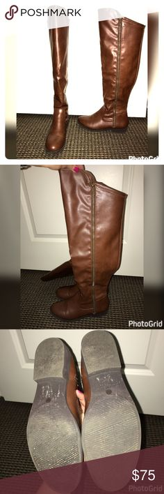 a.n.a Cognac Over the Knee Boots Bought these too small... worn only a few times! Adorable with jeans, leggings, a skirt, or a dress! Feel free to ask any questions. a.n.a Shoes Over the Knee Boots