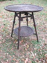 Round Natural Antique Wicker Table