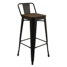 Высокий барный стул-табурет в стиле лофт Tolix MC-012K graphite wood (графит) H-760