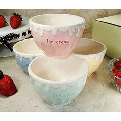 D'lusso Designs 4 Piece Ceramic Ice Cream Bowl Set