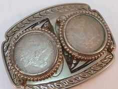 Western Southwestern Belt Buckle with Double 1889 Morgan Silver Dollar Vintage #Unbranded