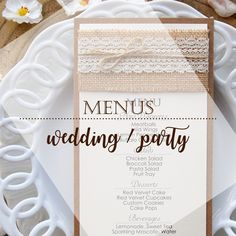 We create, design, photograph and produce Rustic Dinner Menus. Some with burlap and lace, others with burlap and wooden starfish or another more simple. Corresponding items for the venue are available. Rustic Wedding, Lace Wedding, Wedding Dinner Menu, Cookie Pops, Red Velvet Cupcakes, Chicken Broccoli, Watercolor Design, Sweet Tea, Custom Cakes