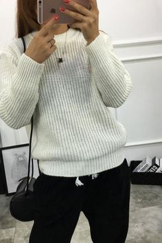 Pure Color Long Sleeves Loose Pullover Sweater