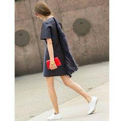 Black × White Sacai or UNIQLO × White slip-on shoes