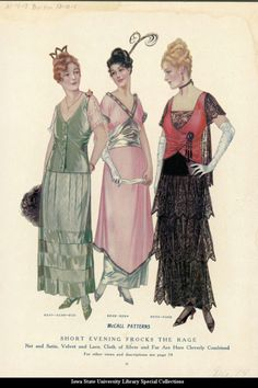 "Catalogue page showing ""short"" evening dresses, 1914 United States, McCall's Magazine"