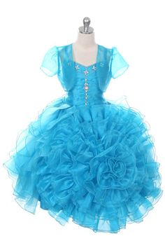 Girls Dress Style 1022- TURQUOISE Organza with Bead Accents and Matching Bolero  A style in a class all by itself! This stunning organza dress features a bodice adorned with exquisite bead detailing that add such glitz and glam to the dress. The rose shaped organza skirt is so voluminous that your little one will feel like royalty in the dress.  http://www.flowergirldressforless.com/mm5/merchant.mvc?Screen=PROD&Product_Code=RK_1022TUR&Store_Code=Flower-Girl&Category_Code=Turquoise