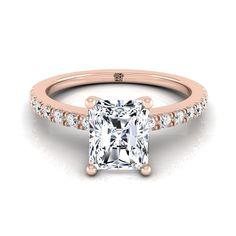 Classic Petite Split Prong Radiant Cut Diamond Engagement Ring In Rose Gold Ct. Radiant Cut Engagement Rings, Rose Gold Engagement Ring, Radiant Cut Diamond, Classic, Dream Wedding, Jewelry, Future, Rose Gold Square Engagement Ring, Derby