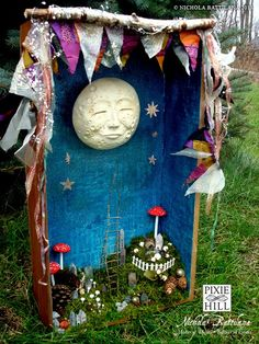 Pixie Hill: A big bright moon. whimsy art from an old drawer