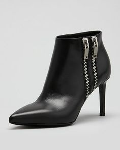 Simple, edgy but very chic -- Double-Zipper Point-Toe Bootie, Black by Saint Laurent at Neiman Marcus.