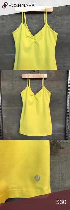lululemon athletica • yellow bra tank lululemon athletica • yellow tank • inner bra attached • scrunch sweetheart neckline • a little piling, but still had plenty of life left • size 6 -- but the tag has been removed lululemon athletica Tops Tank Tops