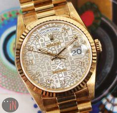 """Setting Patterns!' #Rolex 36mm #DayDate President Super Jubilee  Ref#: 18238 * Diamond Dial 1989 Original Finish http://www.elementintime.com/Rolex-Day-Date-President-36mm-18238-18k-Yellow-Gold-Super-Jubilee-Diamond-Dial"