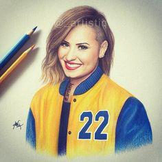 DEMI, drawn with colored pencils! Demi Lovato, Trey Songz, Big Sean, Ryan Gosling, Rita Ora, Nicki Minaj, Happy 22nd Birthday, Beautiful Sketches, Celebrity Drawings
