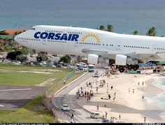 CorsAir St. Martin Airport Landing. I bet you don't doze off for long on this section of beach.
