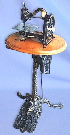 An Agenoria machine made in Birmingham, UK during the 1870s, is married here to a pedestal treadle of spiral form.