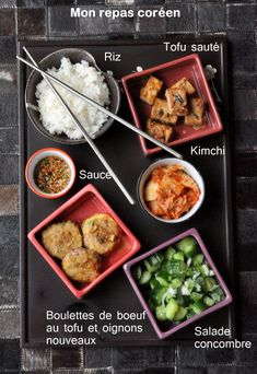 Repas coreen kimchi bouletets boeuf tofu saute salade cocombre