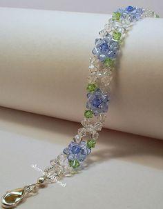 Blue flower swarovdki crystal bracelet