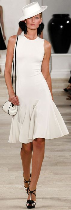 ✜ Ralph Lauren SS 2013 white dress @roressclothes closet ideas women fashion outfit clothing style