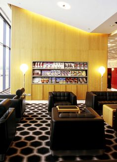 Marc designed the Qantas First Class Lounges in the Sydney and Melbourne international terminals in parallel with the development of his design for the interiors of the Qantas aircraft. First Class, Qantas A380, A380 Aircraft, Melbourne, Lounge, Wood, Table, Interiors, Furniture