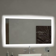 The OVE Decors Villon LED Bathroom Mirror is beautifully sized for any room. This mirror utilizes LED technology and features hands-free infrared. Bathroom Mirror Design, Bathroom Mirror Lights, Vanity Wall Mirror, Modern Bathroom, Small Bathroom, Bathroom Ideas, Wall Mirrors, Round Mirrors, Bathroom Lighting
