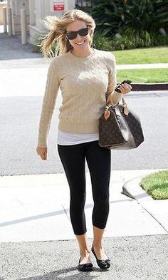 Camel Cable Knit Sweater + Black Leggings + Flats = Weekend Wear