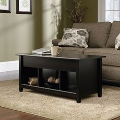 Sauder Edge Water Lift-Top Coffee Table, Estate Black