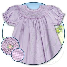 Purple Tiny Gingham English Smocked Bishop 15SP 5476A