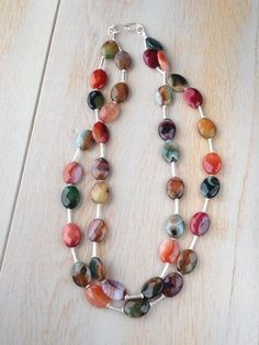 Tourmaline Agate and Sterling silver necklace £119.00