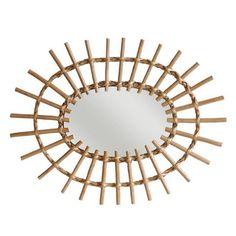 Miroir oval en rotin HK Living 60 x 45 cm Rotin tressé 60 x 45 cm
