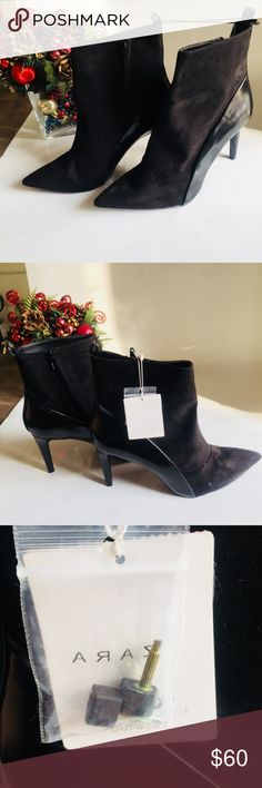 """NWT ZARA WOMAN BLACK SUEDE HEELS SIZE 8 NEW ZARA WOMAN BLACK HEEL SUEDE WITH LEATHER DETAIL. Comes with heel tips. In great condition. Heels DO NOT come in it's original box. HEEL: 2.5"""" US SIZE: 8 EUROPEAN: 39 FEEL FREE TO ASK QUESTIONS! 😊♥️ Zara Shoes Heeled Boots"""