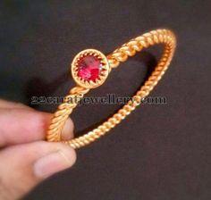 Jewellery Designs: Available 1 Gram Gold Kada Designs