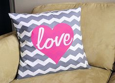 I came across these Valentine throw pillows from Crazy Little Projects at the Make and Takes Spotlight and thought they'd make a simple and easy addition to your day of love decor! More Valentine's Day love for you: New Valentine's. My Funny Valentine, Valentine Day Crafts, Valentine Decorations, Valentines, Valentine Ideas, Easter Crafts, Holiday Crafts, Diy Pillows, Throw Pillows