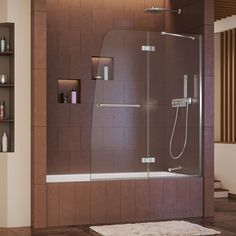 LITTLE BIG LIFE: If your small apartment's bathroom has the place, get it! A clear glass frameless tub door!