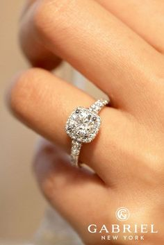 30 Halo Engagement Rings Or How To Get More Bling ❤️ gabriel and co engagement rings ER12761R4W44JJ hazel white gold round entwined diamond ring ❤️ See more: http://www.weddingforward.com/halo-engagement-rings/ #wedding #bride #engagementrings #haloengagementrings