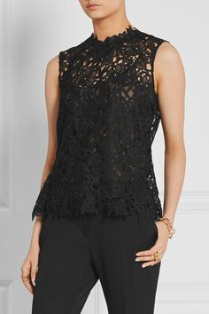 Black guipure lace Hook-fastening keyhole at back 100% polyester; lining: 100% silk Dry clean Made in Italy