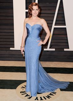 Amy Adams in a strapless light blue beaded gown at the 2015 Vanity Fair Oscar After-Party