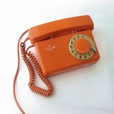 Vintage orange rotary telephone by ArtmaVintage on Etsy, $69.00