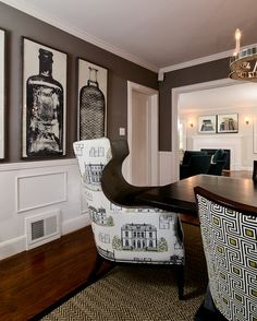 Approachable Chic Tudor- Dining Room.  Like the idea of chairs as conversation pieces.
