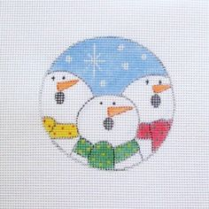Caroling Trio of Snowmen Handpainted Needlepoint Canvas Ornament #Unbranded