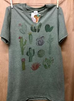 "Gina ""Cactus Multi"" Green Cut V Neck Tee"