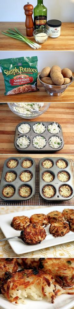 Parmesan Hash Brown Cups & other muffin pan recipes:  1 package simply potatoes, 1/2 C parm cheese, 3 green onions, 2 TB olive oil, 1 tsp salt, 1/2 tsp pepper. Mix, put into greased muffin pans, smoosh down w back of spoon, bake at 350 degrees for 1 hr. on bottom oven rack