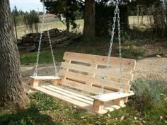 DIY swing made of europallets - 25 fairytale ideas for you diy pallet - diy pallet garden - diy pall Diy Swing, Porch Swing, Outdoor Projects, Garden Projects, Outdoor Decor, Diy Garden, Palette Diy, Wood Pallet Furniture, Pallet Creations