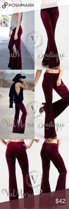"""Burgundy Velvet Bellbottoms You NEED a pair of these. It's not even a want. It's a need!!!! Wait until you try these on. Wowwww. Amazing. Mega soft and warm burgundy velvet bell bottoms. 90% polyester and 10% spandex so they are megaaaa stretchy. They fit true to size women's sizing. S(2-4) M(6-8) L(10-12). Inseams: S 32.5"""" M 33"""" L 33.5"""" - mega stretchy waist and just amazing. Don't even think twice because these will be gone before you know it. ✅I SHIP MONDAY THROUGH SATURDAY WITHIN 24…"""